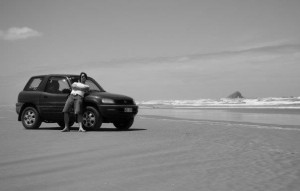 Toyota RAV4 parked on Ninety Mile Beach - an amazing New Zealand experience