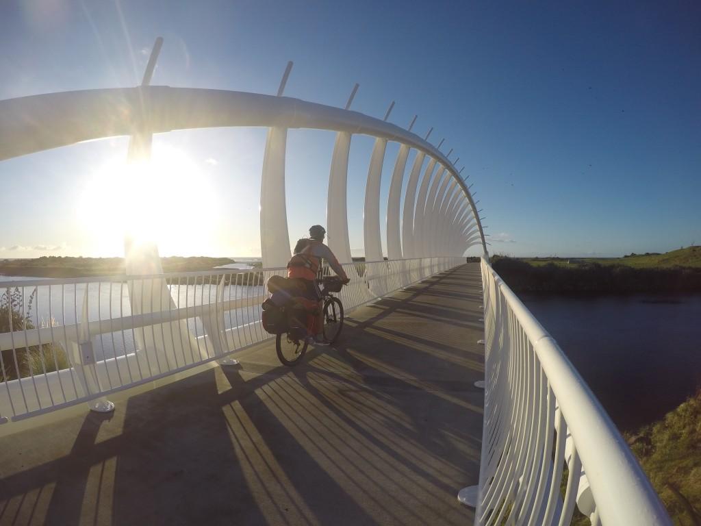 Crossing New Plymouth's wavey bridge